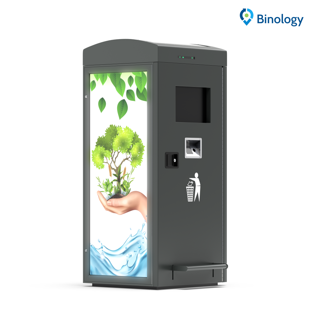 Gallery image 0 - Binology SmartCity Bin 120 is a street IoT container. Supplied with solar panel, compactor, fill-level measurement system, weather station, galvanized steel housing and fire detection system.