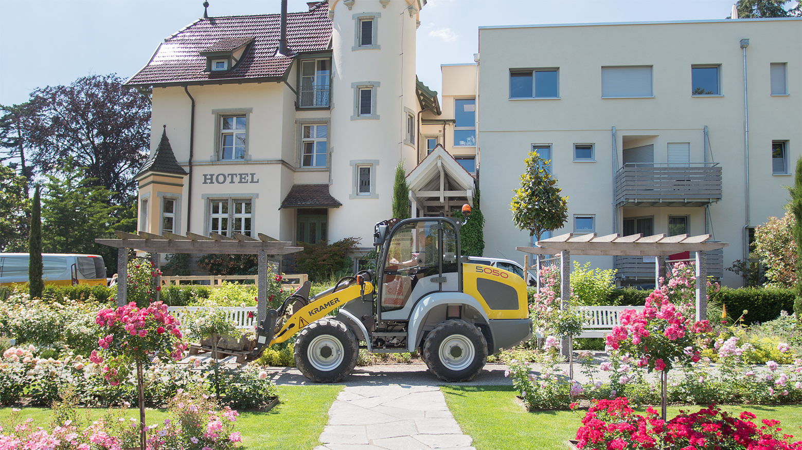 Gallery image 1 - **5050 - Lighter. Stronger. Higher** Due to the nature of the machine and the easy and lower priced transport possibility, the wheel loader can be used by gardening and landscaping contractors.