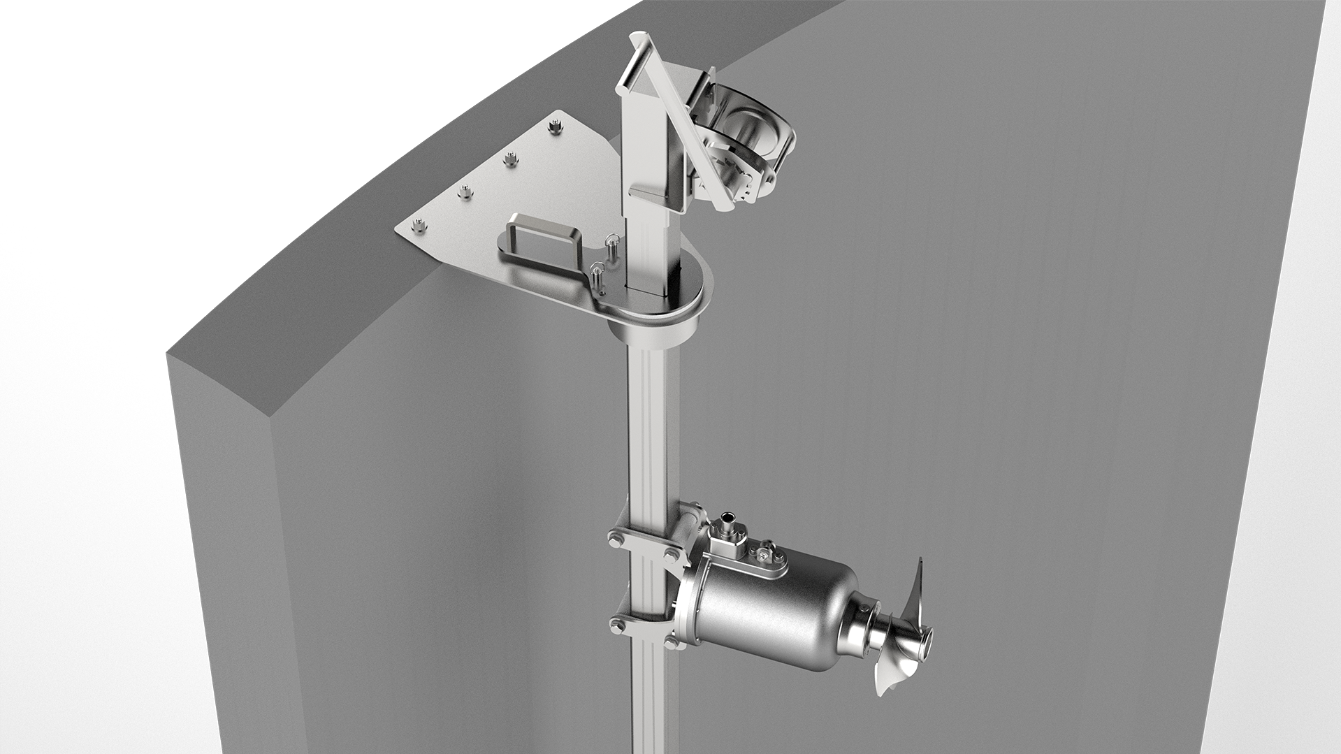 Gallery image 1 - Suspension mounting rame EV3 light *  For open concrete tanks (not gastight) *  Suitable for tank depths up to 6 m *  Lateral rotation +/- 60° *  Quick and easy maintenance by pulling up the agitator