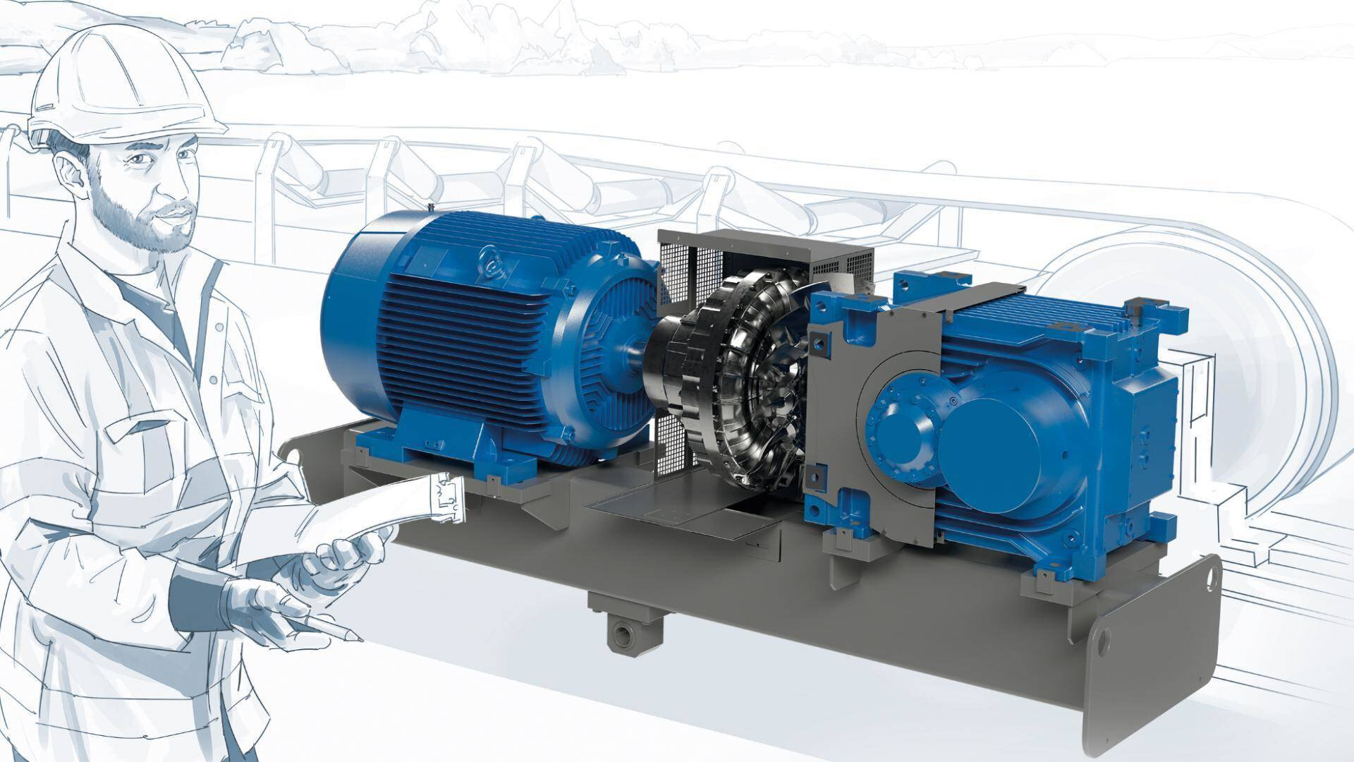 Gallery image 0 - MAXXDRIVE® XT industrial gear units are especially designed for conveyor belt applications in the bulk material handling industry which require low speed ratios in combination with high powers