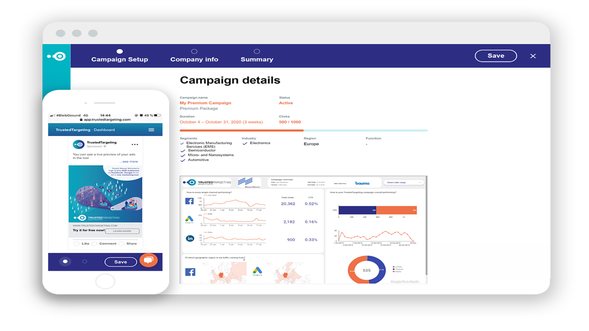 Gallery image 1 - With your live dashboard, you have the possibility to check the most important key performance indicators and results of your campaign. Thus you can always measure the success of your advertising campaigns in real-time.