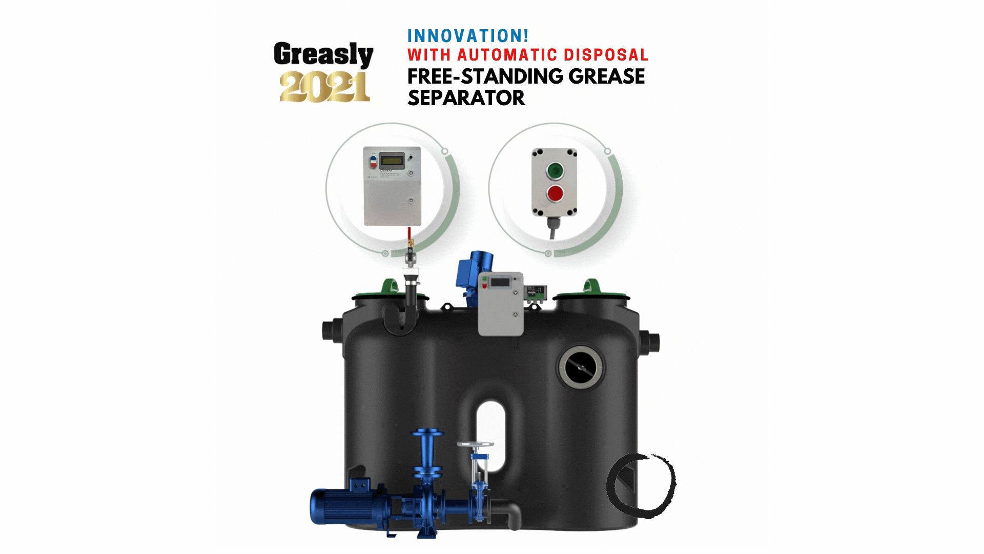 Gallery image 1 - Grease separator model made of polyethylene for free-standing installation inside buildings. Grease separator is compact, rigid and lightweight but very rigid units at the same time.